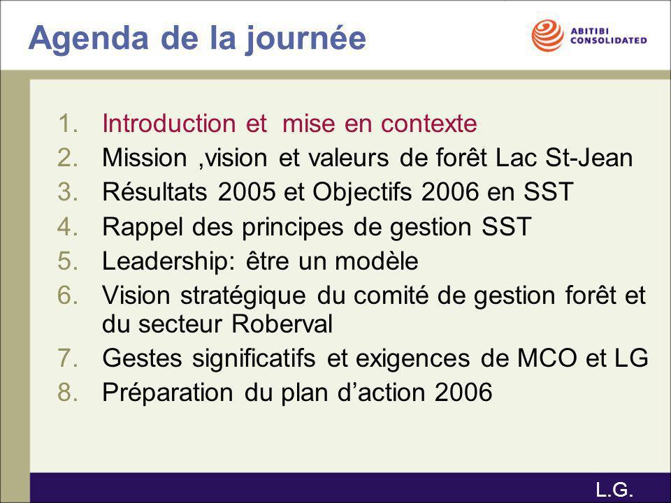 Agenda de la journée 1.Introduction et mise en contexte 2.Mission,vision et valeurs de forêt Lac St- Jean 3.Résultats 2005 et Objectifs 2006 en SST 4.Rappel des principes de gestion SST 5.Leadership: être un modèle 6.Vision stratégique du comité de gestion forêt et du secteur Roberval 7.Gestes significatifs et exigences de MCO et LG 8.Préparation du plan daction 2006 E.B.
