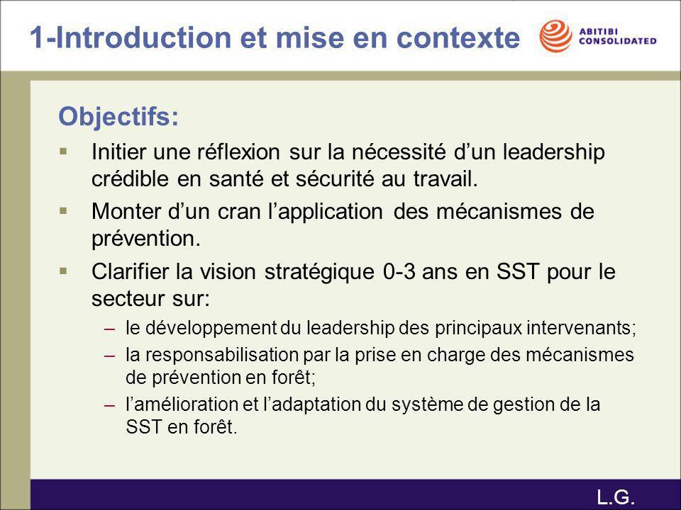 1-Introduction et mise en contexte Objectifs: Initier une réflexion sur la nécessité dun leadership crédible en santé et sécurité au travail. Monter d