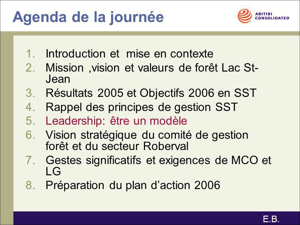 Agenda de la journée 1.Introduction et mise en contexte 2.Mission,vision et valeurs de forêt Lac St- Jean 3.Résultats 2005 et Objectifs 2006 en SST 4.