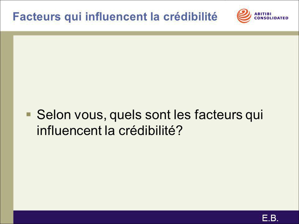 Facteurs qui influencent la crédibilité Selon vous, quels sont les facteurs qui influencent la crédibilité? E.B.