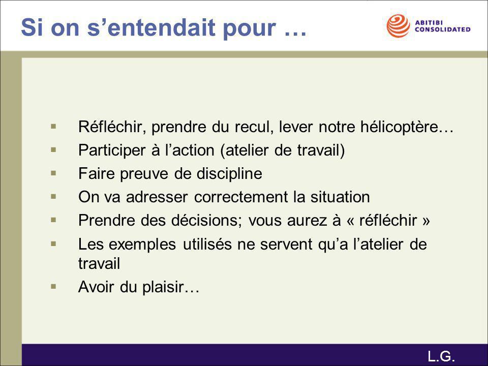 Prochaines étapes Validation de votre plan daction, gestes significatifs et exigences avec Luc / Erick / Gilles Présentation à Michel Ouellet et Daniel Couture avant le début de lopération 2006 P.S.