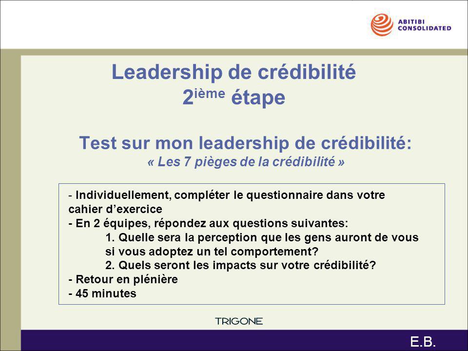Test sur mon leadership de crédibilité: « Les 7 pièges de la crédibilité » Leadership de crédibilité 2 ième étape - Individuellement, compléter le que
