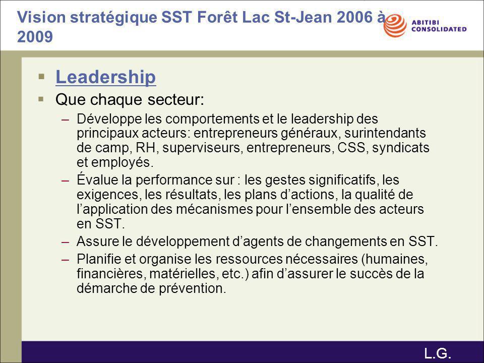 Vision stratégique SST Forêt Lac St-Jean 2006 à 2009 Leadership Que chaque secteur: –Développe les comportements et le leadership des principaux acteu