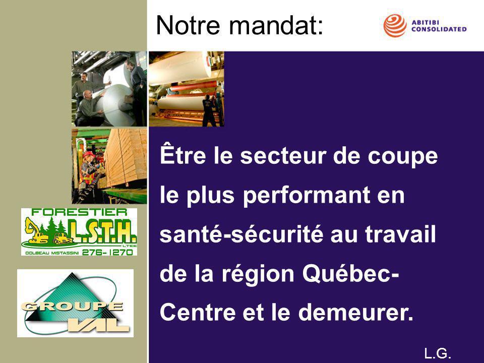 Notre mandat: Être le secteur de coupe le plus performant en santé-sécurité au travail de la région Québec- Centre et le demeurer. L.G.