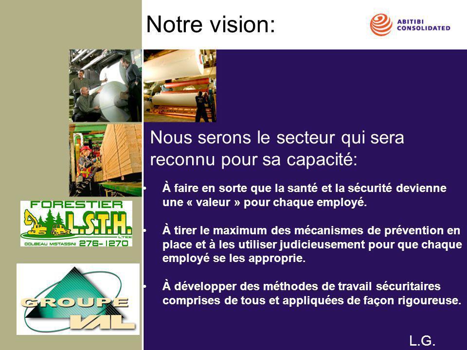 Notre vision: À faire en sorte que la santé et la sécurité devienne une « valeur » pour chaque employé. À tirer le maximum des mécanismes de préventio