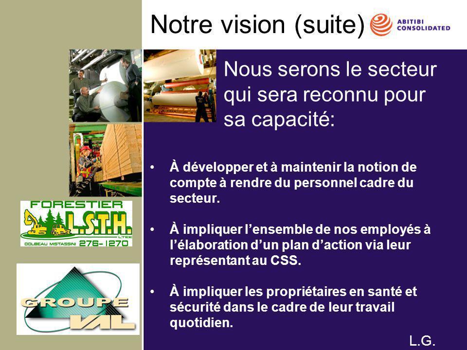 Notre vision (suite) À développer et à maintenir la notion de compte à rendre du personnel cadre du secteur. À impliquer lensemble de nos employés à l