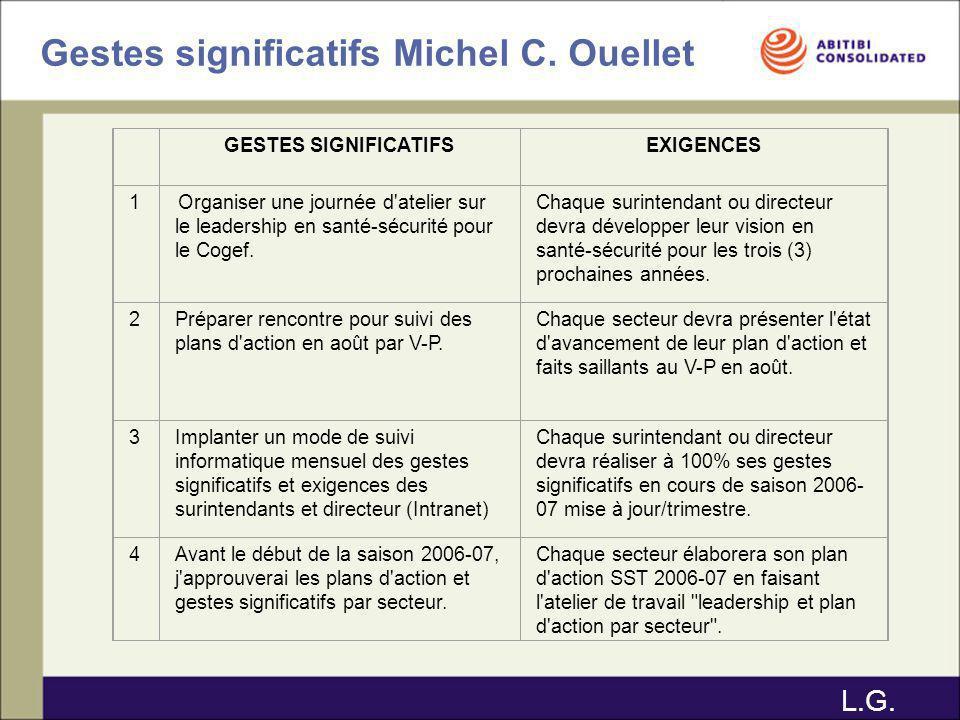 Gestes significatifs Michel C. Ouellet GESTES SIGNIFICATIFSEXIGENCES 1 Organiser une journée d'atelier sur le leadership en santé-sécurité pour le Cog