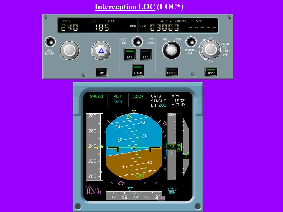 Passage en modes sélectés et armement LOC - G/S