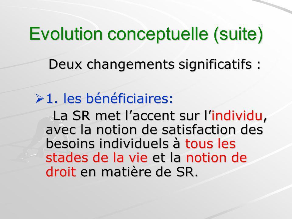 Evolution conceptuelle (suite) Deux changements significatifs : Deux changements significatifs : 1. les bénéficiaires: 1. les bénéficiaires: La SR met
