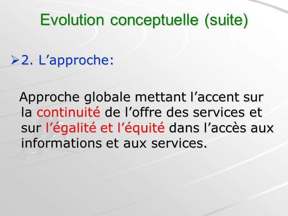 Evolution conceptuelle (suite) 2. Lapproche: 2. Lapproche: Approche globale mettant laccent sur la continuité de loffre des services et sur légalité e