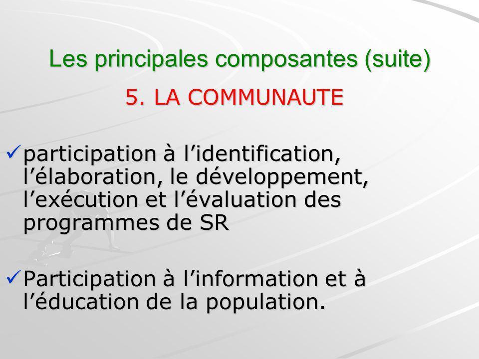Les principales composantes (suite) 5. LA COMMUNAUTE 5. LA COMMUNAUTE participation à lidentification, lélaboration, le développement, lexécution et l