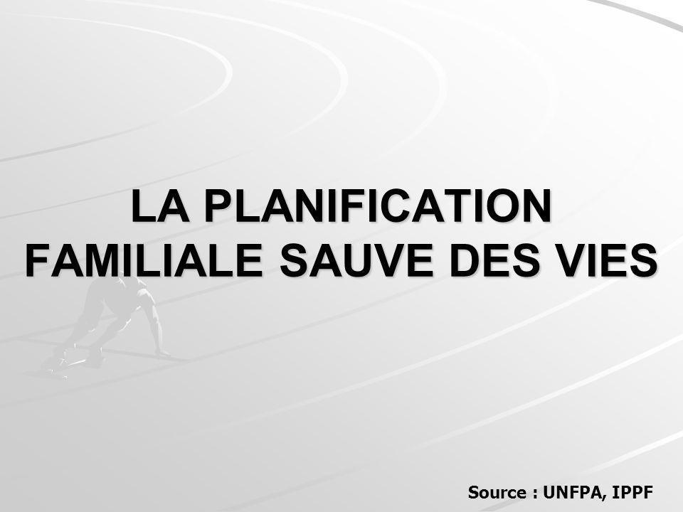 LA PLANIFICATION FAMILIALE SAUVE DES VIES Source : UNFPA, IPPF