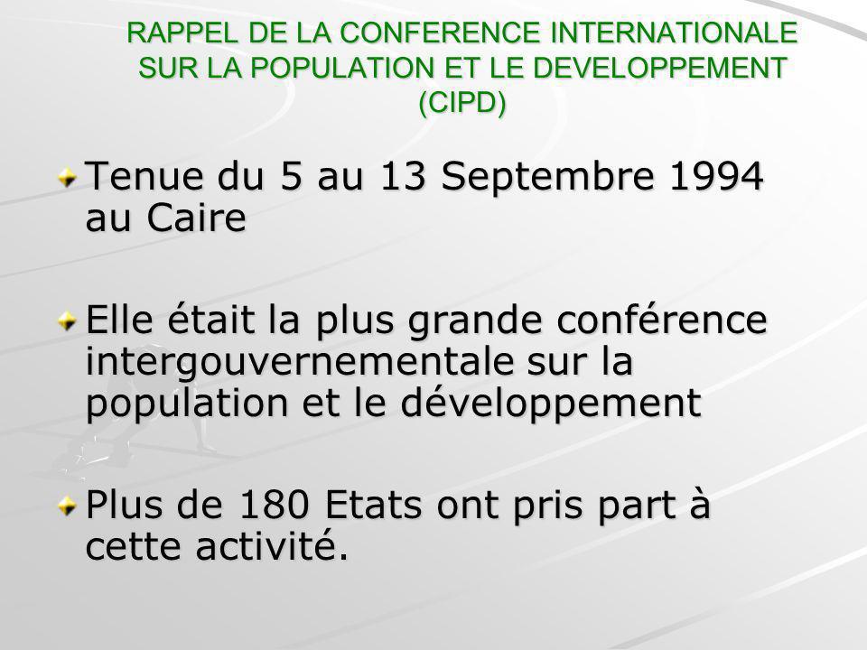 RAPPEL DE LA CONFERENCE INTERNATIONALE SUR LA POPULATION ET LE DEVELOPPEMENT (CIPD) Tenue du 5 au 13 Septembre 1994 au Caire Elle était la plus grande
