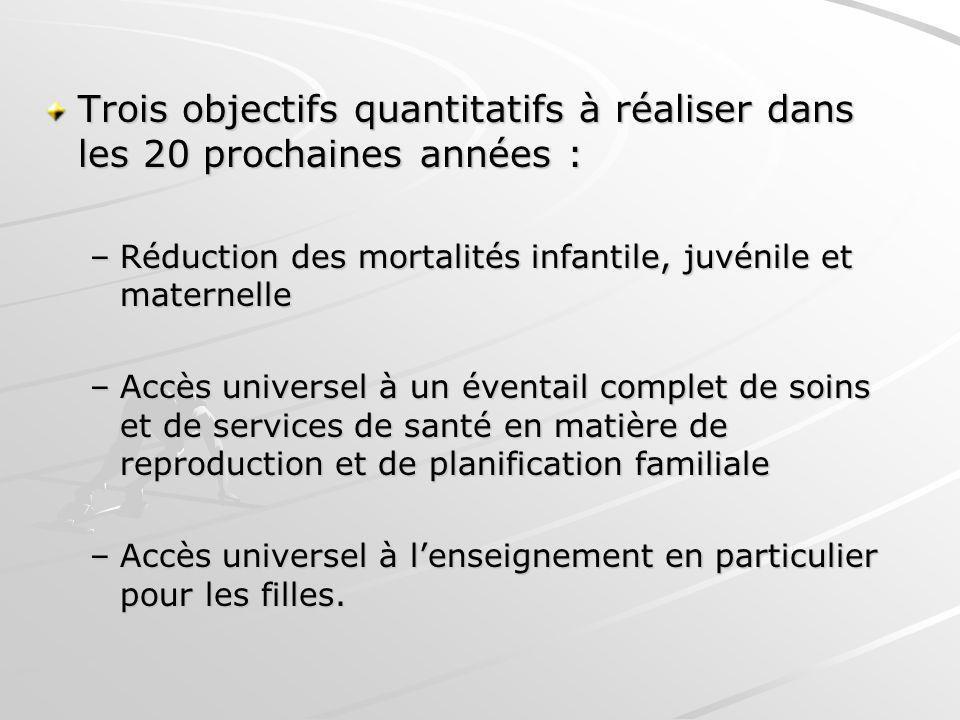 Trois objectifs quantitatifs à réaliser dans les 20 prochaines années : –Réduction des mortalités infantile, juvénile et maternelle –Accès universel à
