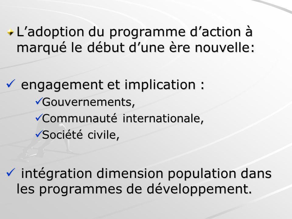 Ladoption du programme daction à marqué le début dune ère nouvelle: engagement et implication : engagement et implication : Gouvernements, Gouvernemen