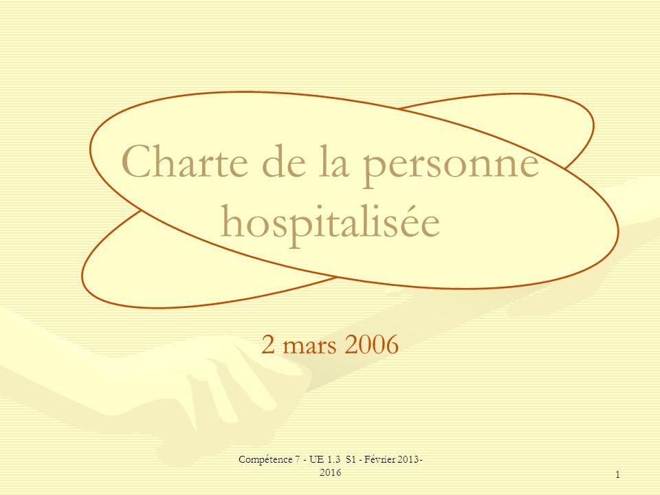 Compétence 7 - UE 1.3 S1 - Février 2013- 2016 1 Charte de la personne hospitalisée 2 mars 2006