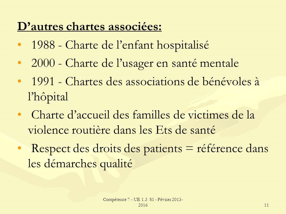 Compétence 7 - UE 1.3 S1 - Février 2013- 201611 Dautres chartes associées: 1988 - Charte de lenfant hospitalisé 2000 - Charte de lusager en santé ment
