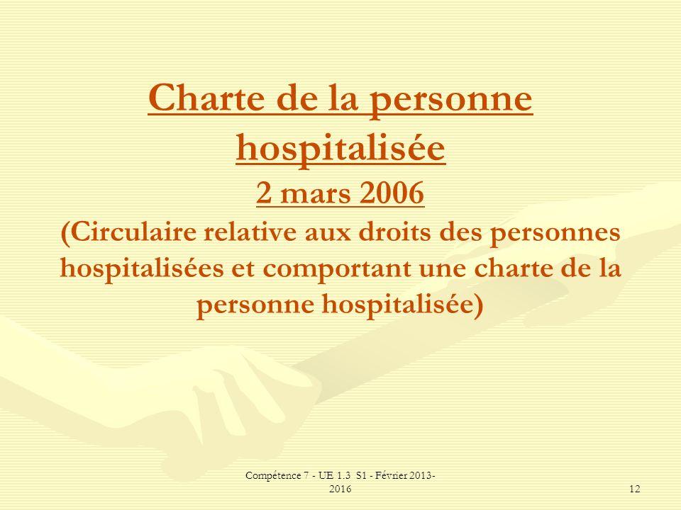 Compétence 7 - UE 1.3 S1 - Février 2013- 201612 Charte de la personne hospitalisée 2 mars 2006 (Circulaire relative aux droits des personnes hospitali
