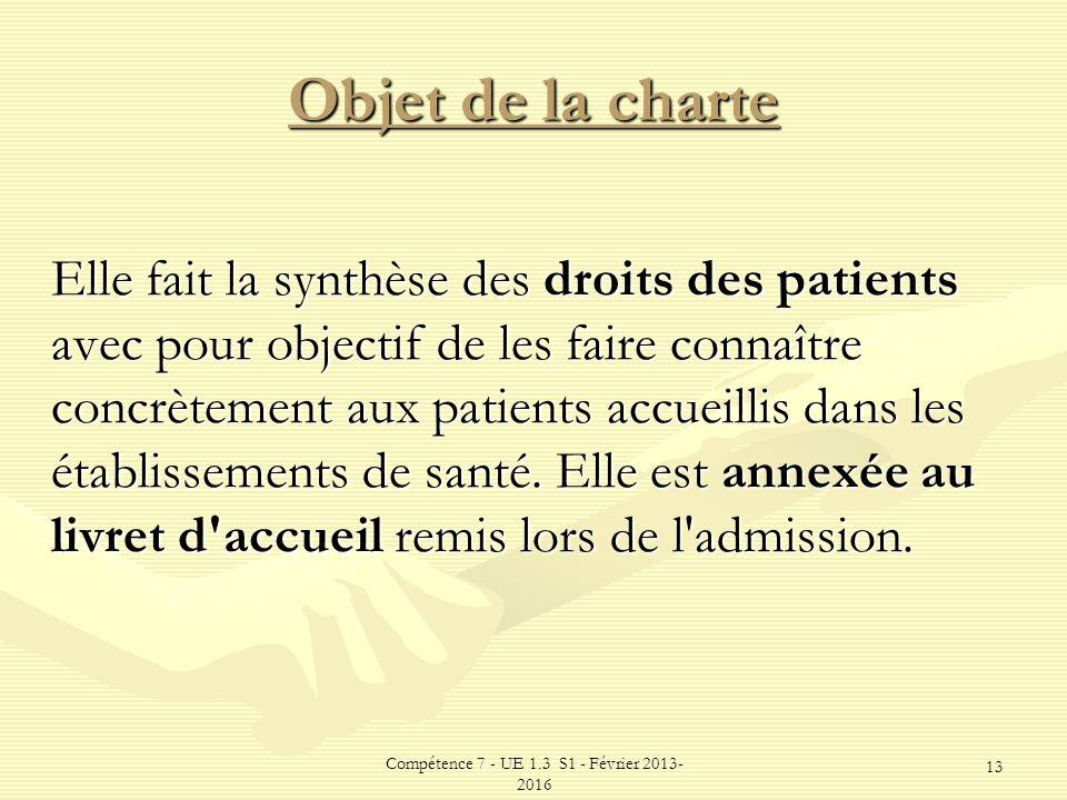 Compétence 7 - UE 1.3 S1 - Février 2013- 2016 13 Objet de la charte Elle fait la synthèse des droits des patients avec pour objectif de les faire conn