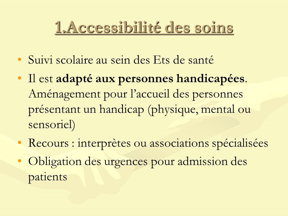1.Accessibilité des soins Suivi scolaire au sein des Ets de santé Il est adapté aux personnes handicapées. Aménagement pour laccueil des personnes pré