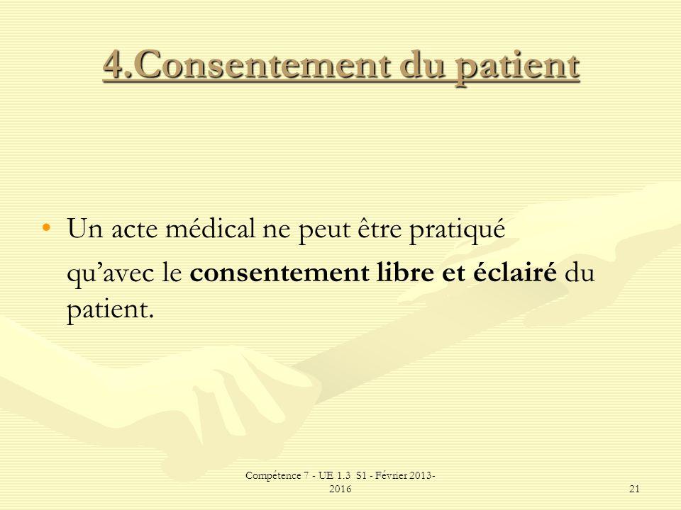 Compétence 7 - UE 1.3 S1 - Février 2013- 201621 4.Consentement du patient Un acte médical ne peut être pratiqué quavec le consentement libre et éclair