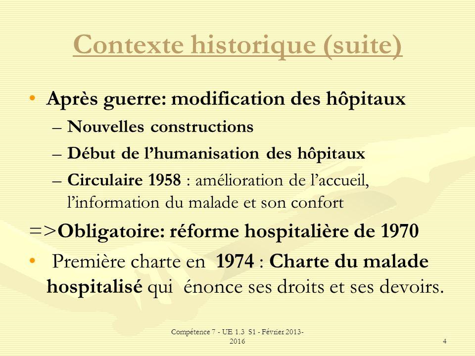Compétence 7 - UE 1.3 S1 - Février 2013- 20164 Contexte historique (suite) Après guerre: modification des hôpitaux – –Nouvelles constructions – –Début