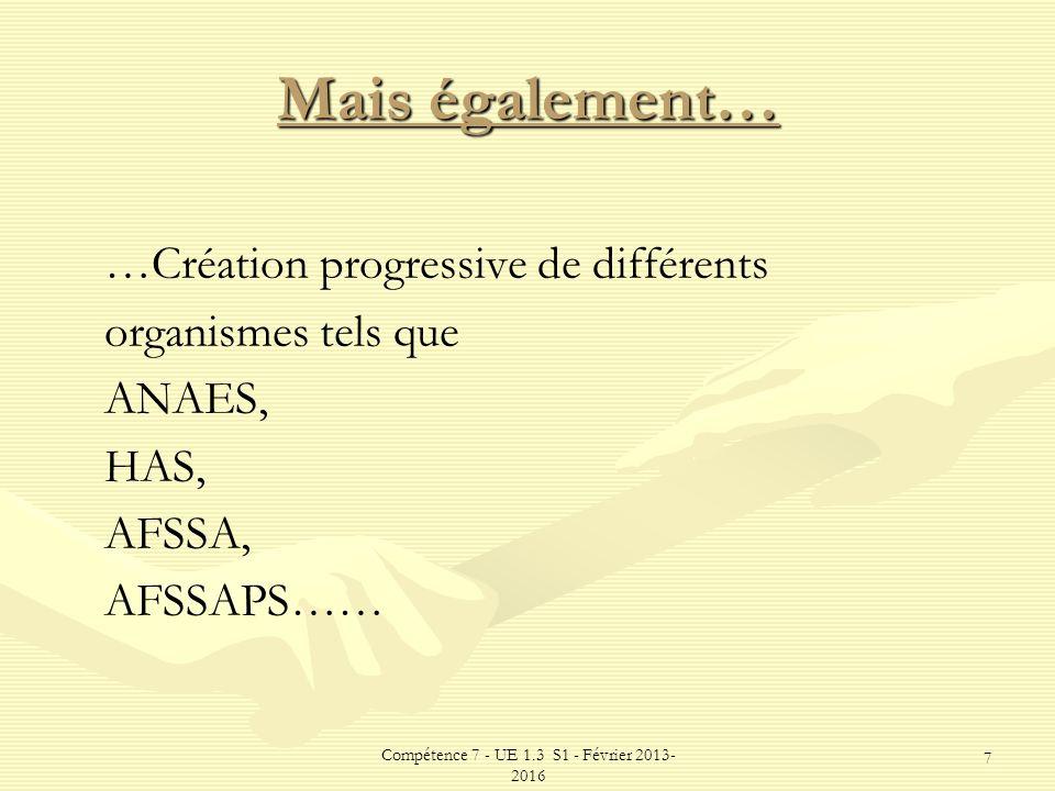 Compétence 7 - UE 1.3 S1 - Février 2013- 2016 7 Mais également… …Création progressive de différents organismes tels que ANAES, HAS, AFSSA, AFSSAPS……