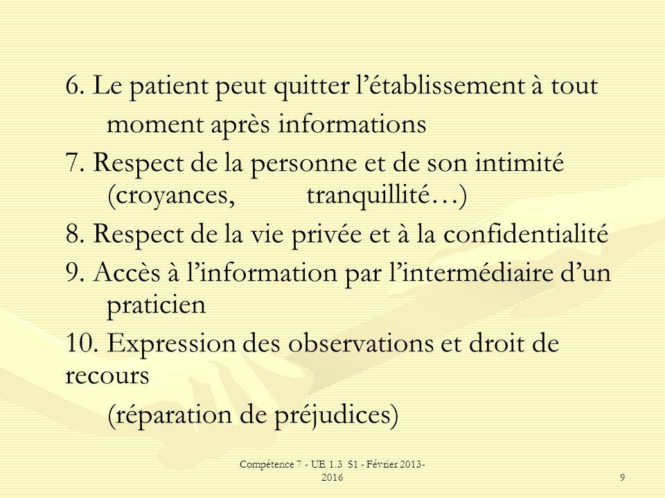 Compétence 7 - UE 1.3 S1 - Février 2013- 20169 6. Le patient peut quitter létablissement à tout moment après informations 7. Respect de la personne et