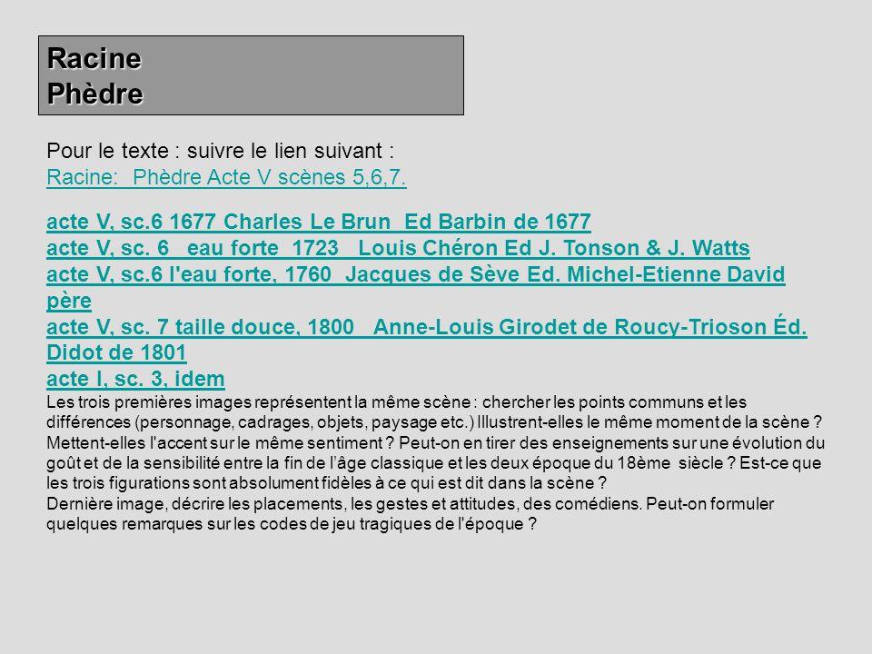 RacinePhèdre Pour le texte : suivre le lien suivant : Racine: Phèdre Acte V scènes 5,6,7. Racine: Phèdre Acte V scènes 5,6,7. acte V, sc.6 1677 Charle