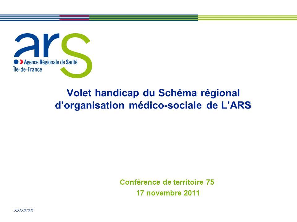 XX/XX/XX Volet handicap du Schéma régional dorganisation médico-sociale de LARS Conférence de territoire 75 17 novembre 2011