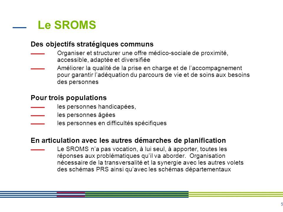 5 Le SROMS Des objectifs stratégiques communs Organiser et structurer une offre médico-sociale de proximité, accessible, adaptée et diversifiée Amélio