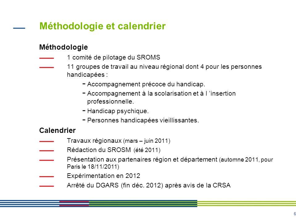 6 Méthodologie et calendrier Méthodologie 1 comité de pilotage du SROMS 11 groupes de travail au niveau régional dont 4 pour les personnes handicapées