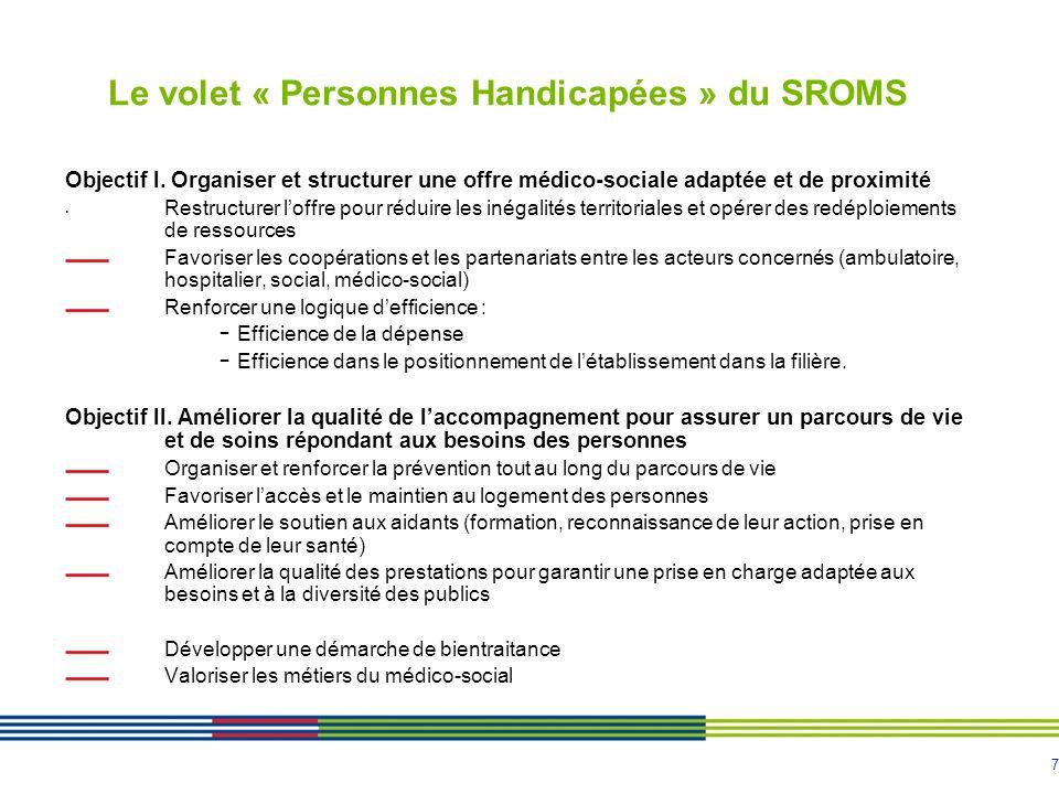 7 Le volet « Personnes Handicapées » du SROMS Objectif I. Organiser et structurer une offre médico-sociale adaptée et de proximité Restructurer loffre