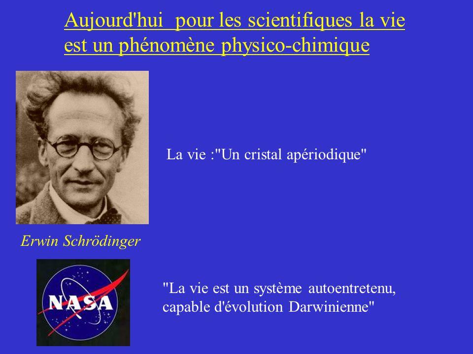 Aujourd'hui pour les scientifiques la vie est un phénomène physico-chimique Erwin Schrödinger La vie :