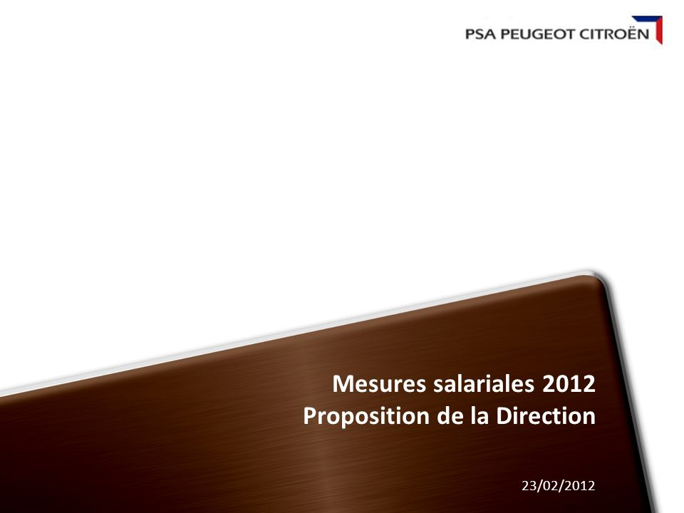 Mesures salariales 2012 Proposition de la Direction 23/02/2012