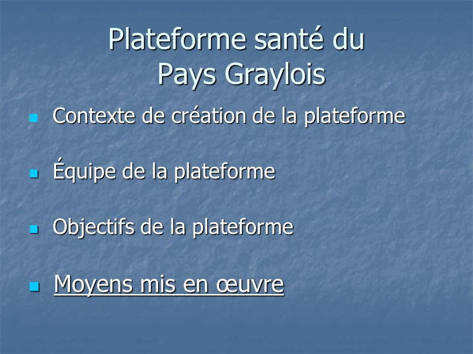 Plateforme santé du Pays Graylois Contexte de création de la plateforme Contexte de création de la plateforme Équipe de la plateforme Équipe de la pla