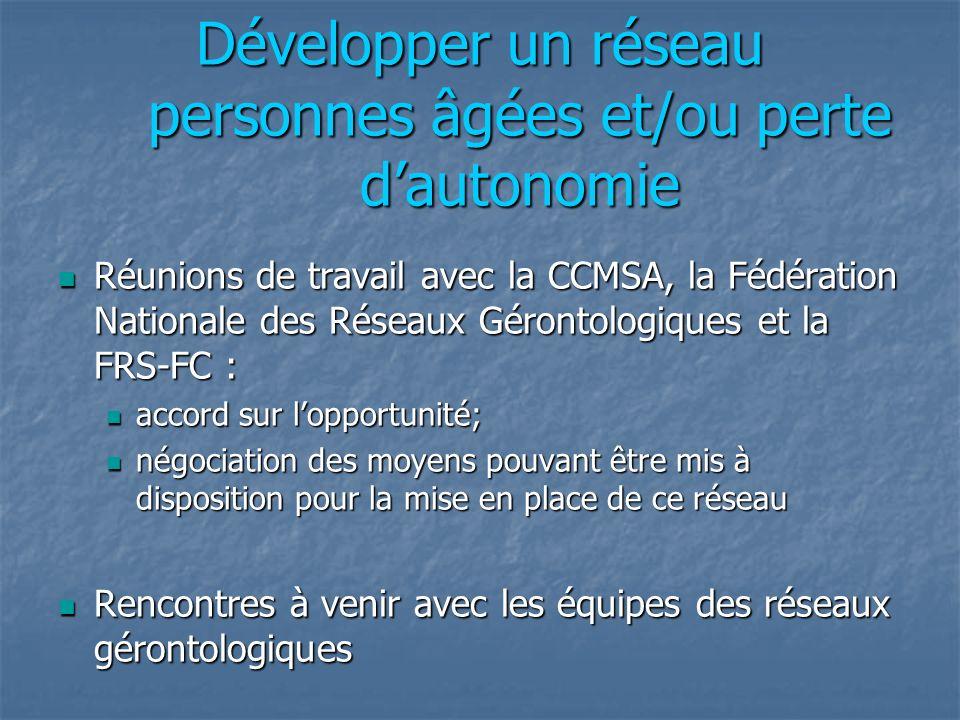 Développer un réseau personnes âgées et/ou perte dautonomie Réunions de travail avec la CCMSA, la Fédération Nationale des Réseaux Gérontologiques et