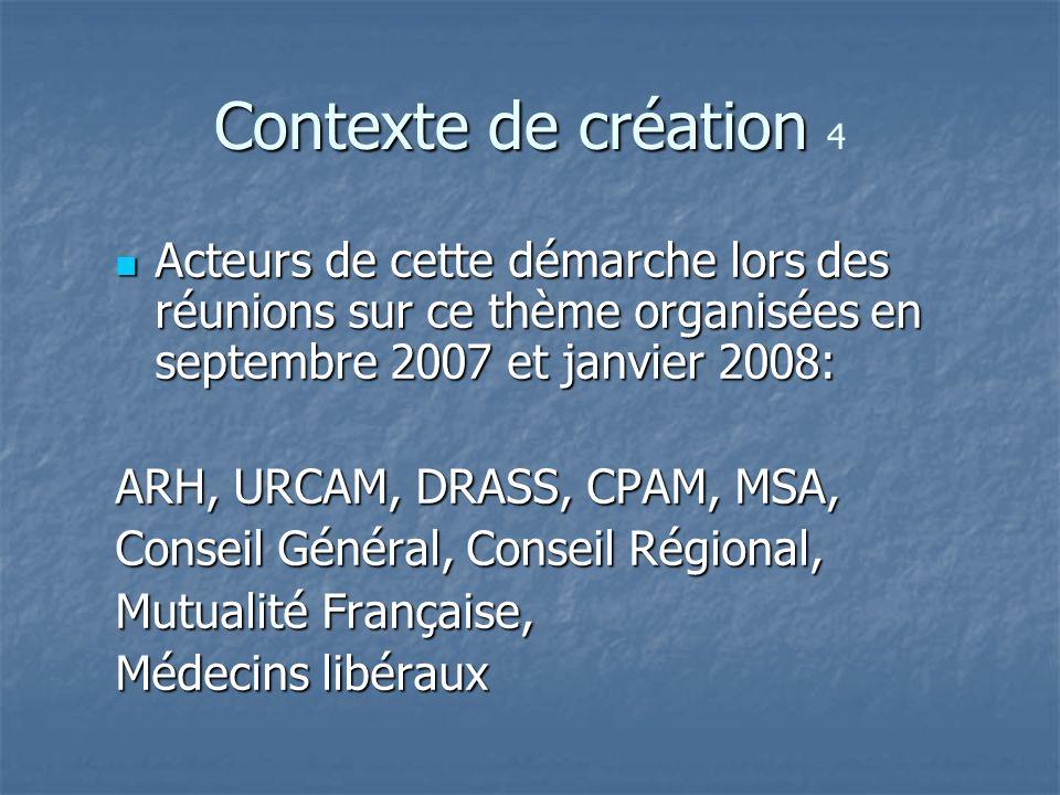 Contexte de création Contexte de création 4 Acteurs de cette démarche lors des réunions sur ce thème organisées en septembre 2007 et janvier 2008: Act