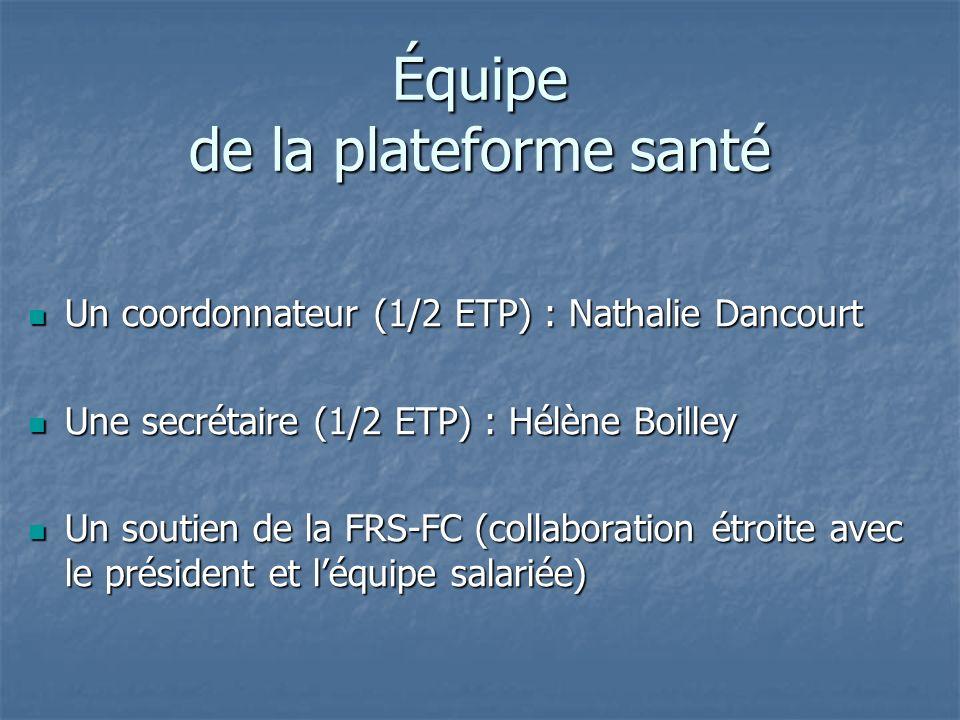 Équipe de la plateforme santé Un coordonnateur (1/2 ETP) : Nathalie Dancourt Un coordonnateur (1/2 ETP) : Nathalie Dancourt Une secrétaire (1/2 ETP) :