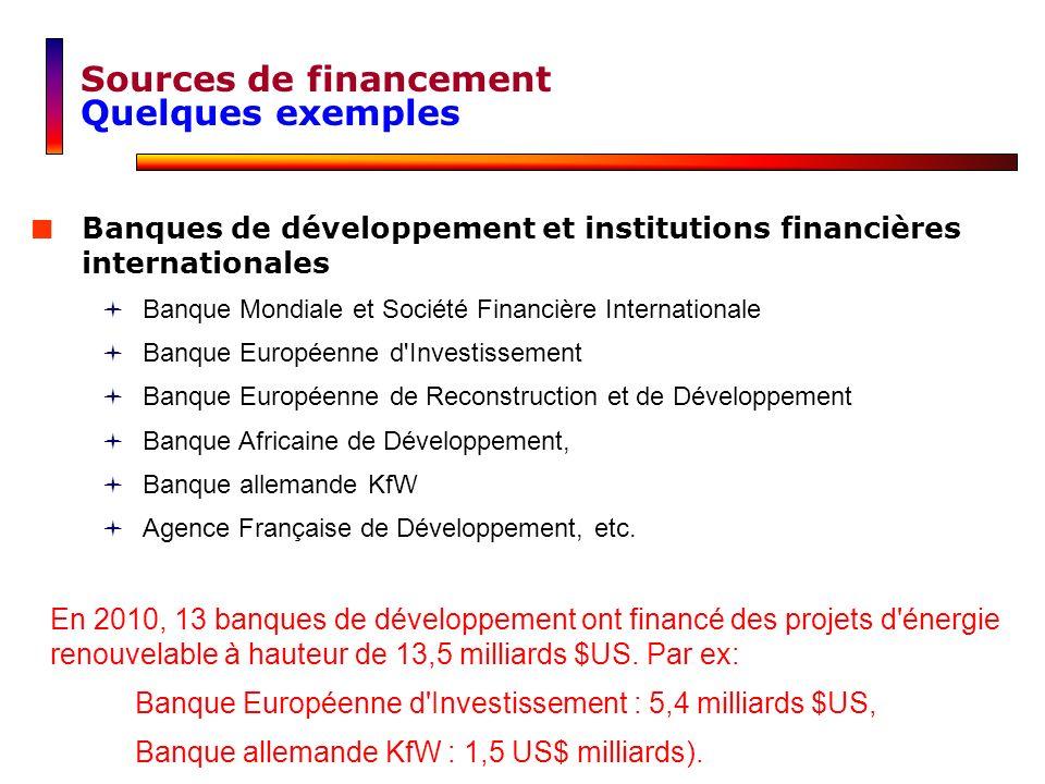 Banques de développement et institutions financières internationales Banque Mondiale et Société Financière Internationale Banque Européenne d'Investis