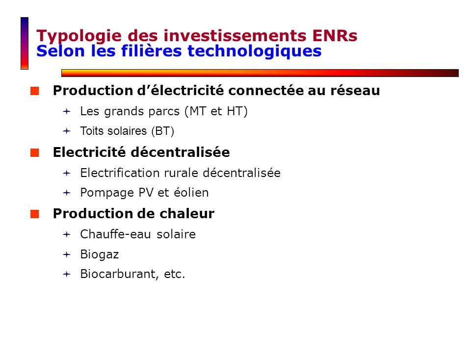 Production délectricité connectée au réseau Les grands parcs (MT et HT) Toits solaires (BT) Electricité décentralisée Electrification rurale décentral