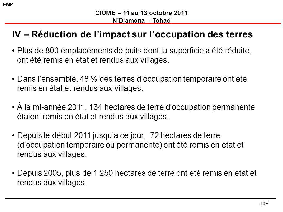 EMP CIOME – 11 au 13 octobre 2011 NDjaména - Tchad 10F Plus de 800 emplacements de puits dont la superficie a été réduite, ont été remis en état et re