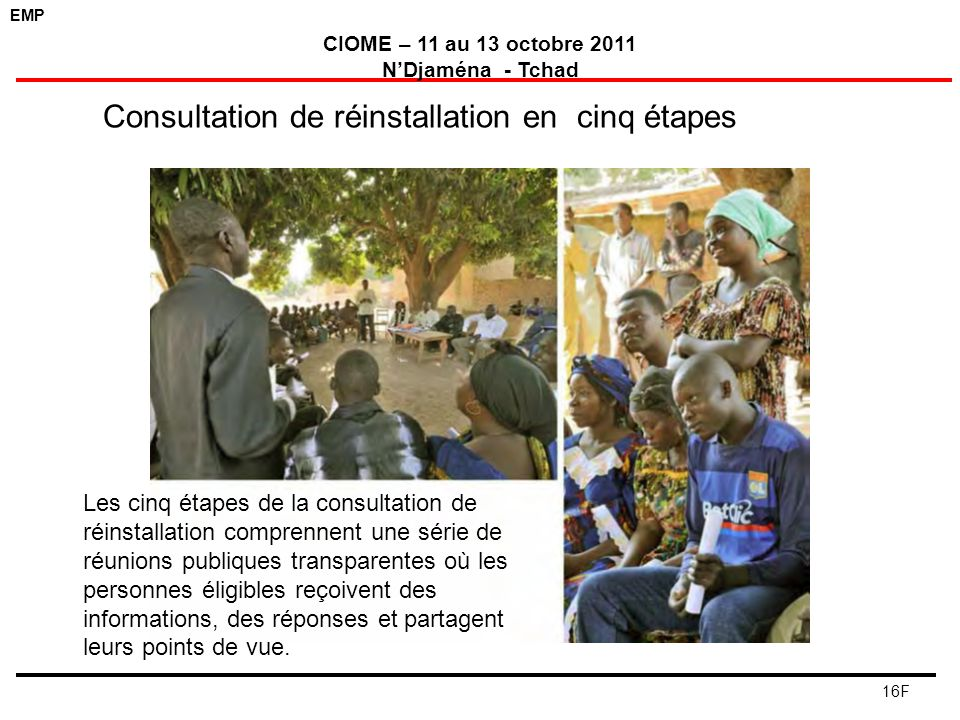 EMP CIOME – 11 au 13 octobre 2011 NDjaména - Tchad 16F Consultation de réinstallation en cinq étapes Les cinq étapes de la consultation de réinstallat