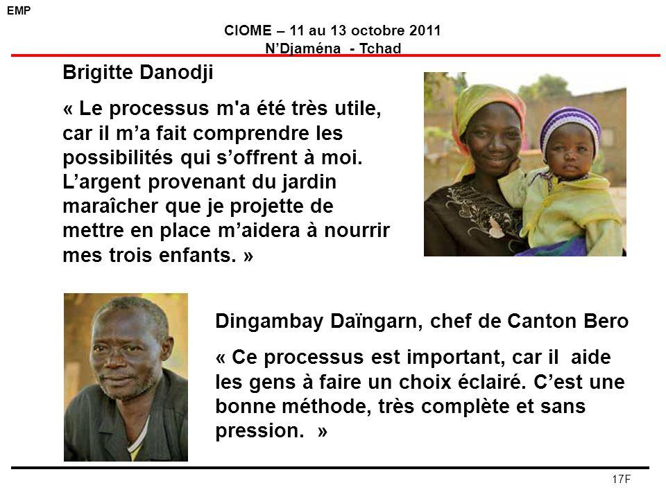 EMP CIOME – 11 au 13 octobre 2011 NDjaména - Tchad 17F Brigitte Danodji « Le processus m'a été très utile, car il ma fait comprendre les possibilités