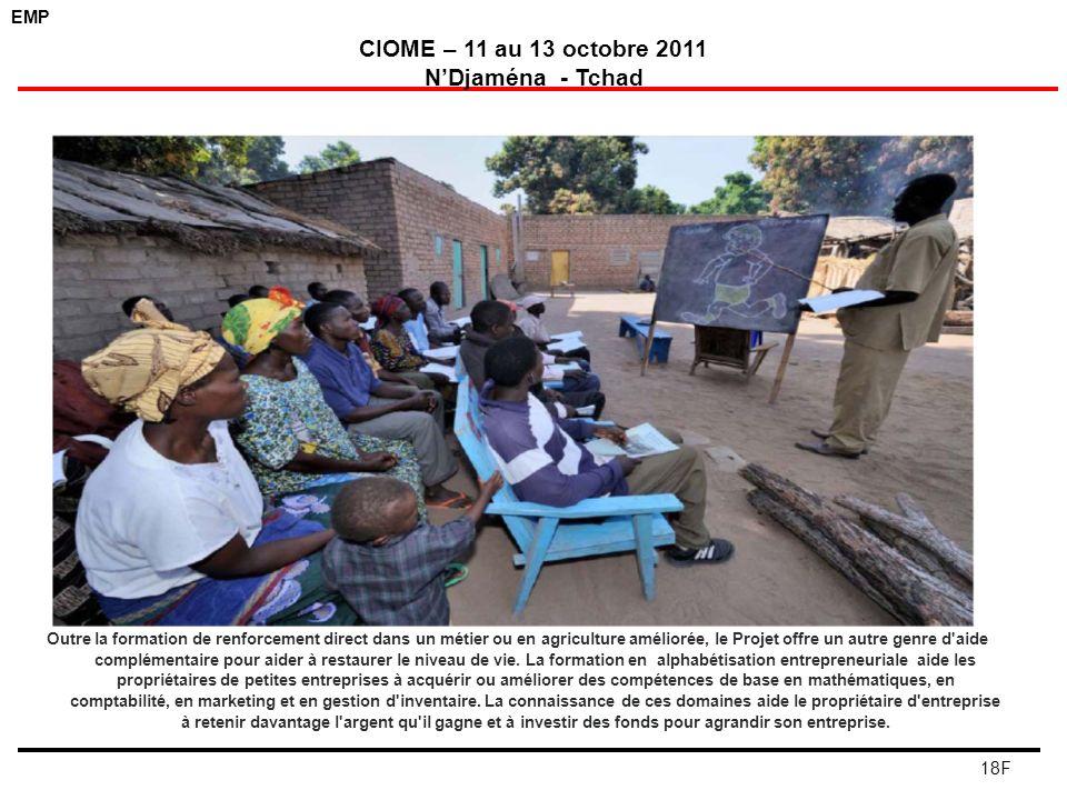 EMP CIOME – 11 au 13 octobre 2011 NDjaména - Tchad 18F Outre la formation de renforcement direct dans un métier ou en agriculture améliorée, le Projet