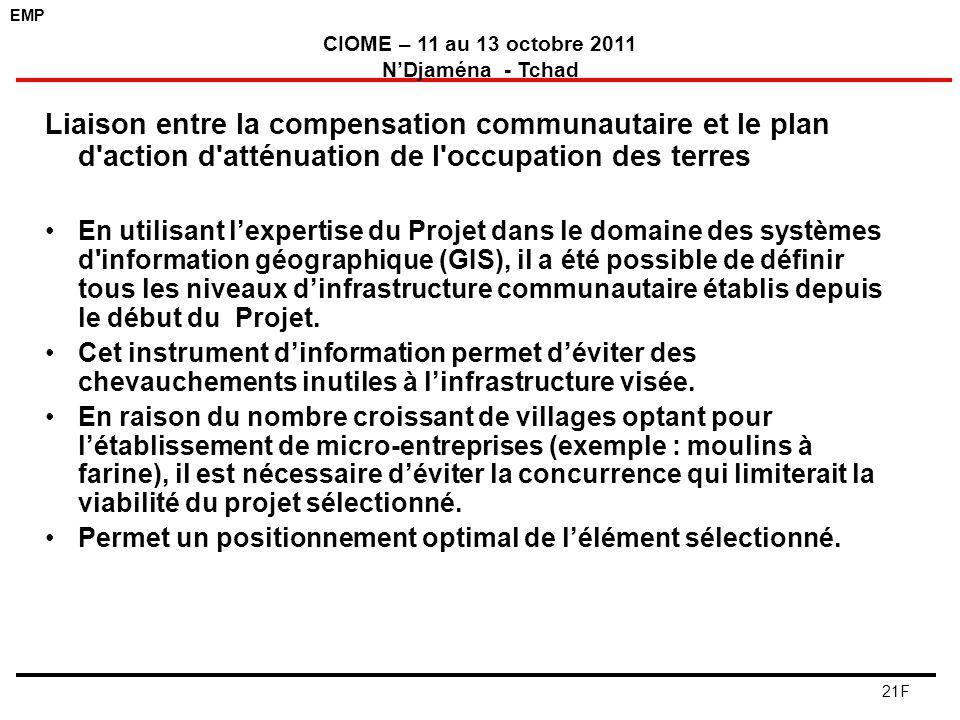 EMP CIOME – 11 au 13 octobre 2011 NDjaména - Tchad 21F Liaison entre la compensation communautaire et le plan d'action d'atténuation de l'occupation d