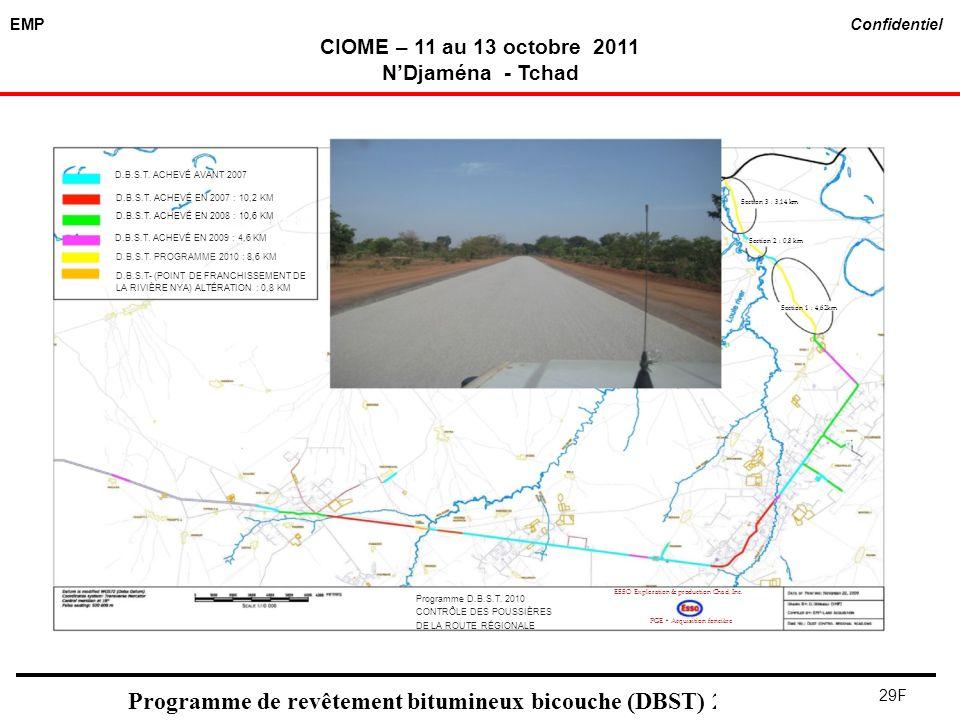 EMP Confidentiel CIOME – 11 au 13 octobre 2011 NDjaména - Tchad 29F Programme de revêtement bitumineux bicouche (DBST) 2011 D.B.S.T. ACHEVÉ AVANT 2007