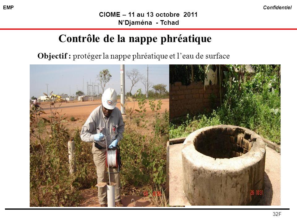 EMP Confidentiel CIOME – 11 au 13 octobre 2011 NDjaména - Tchad 32F Contrôle de la nappe phréatique Objectif : protéger la nappe phréatique et leau de