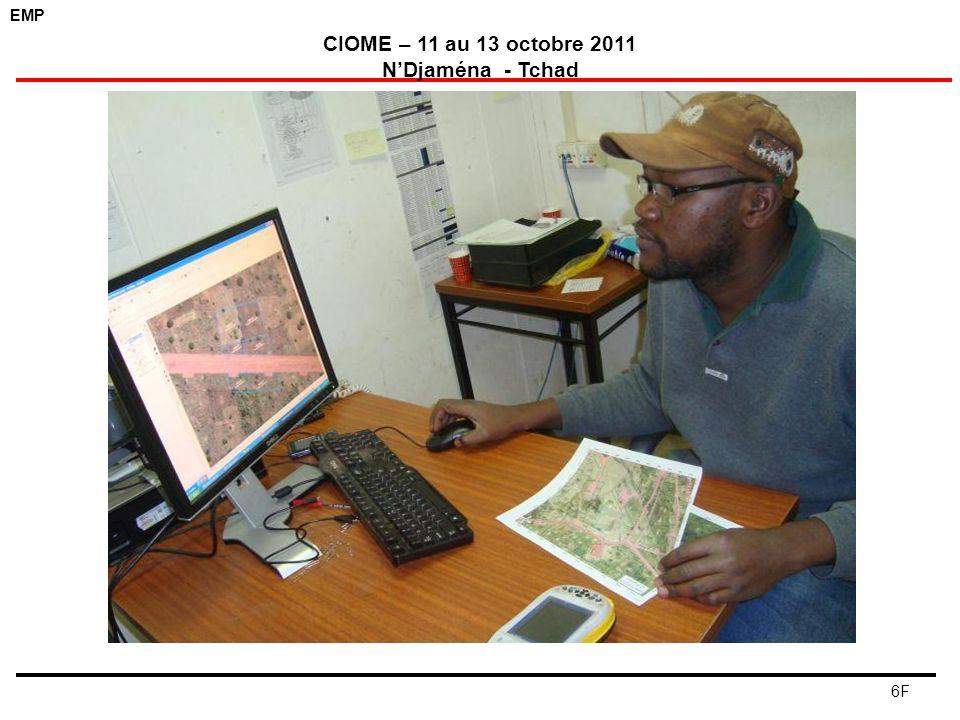 EMP CIOME – 11 au 13 octobre 2011 NDjaména - Tchad 7F Vue densemble des études sur l occupation des terres des villages achevées à ce jour Zone de développement des champs pétroliers Enquête OFDA Occupation des sols et utilisation des terres Légende