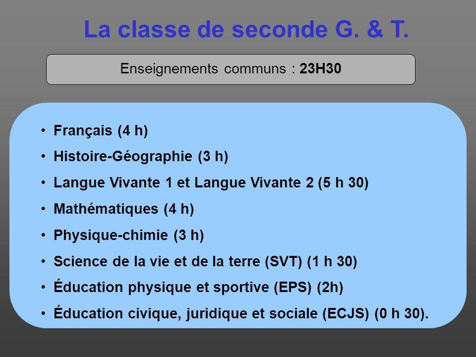 La classe de seconde G. & T. Enseignements communs : 23H30 Français (4 h) Histoire-Géographie (3 h) Langue Vivante 1 et Langue Vivante 2 (5 h 30) Math